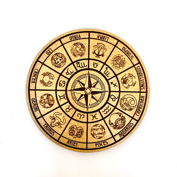 Drink Coasters - Astrology Star Sign Wheel Wood Drink Coaster Set Home Decor Unique Gifts Housewarming Gift