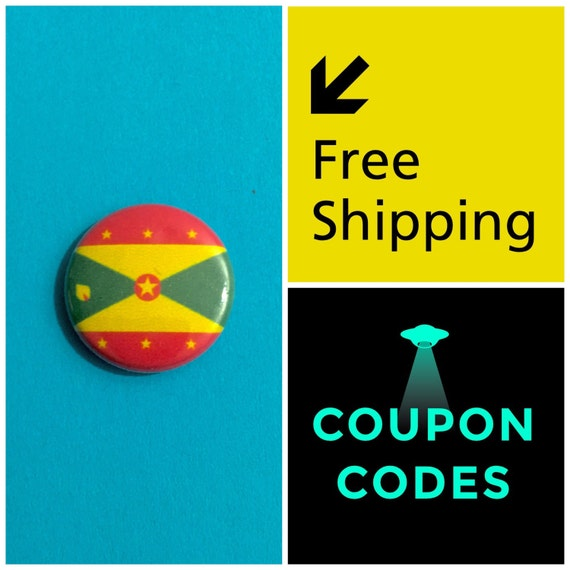 Grenada Flag Button Pin, FREE SHIPPING
