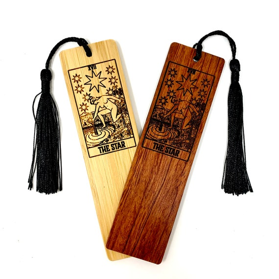 Wood Bookmark - Tarot 17 - The Star - Bookmarks Bamboo or Rosewood, Engraved Real Wood Gift for Students or Friend