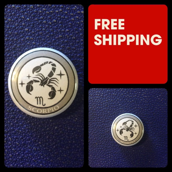 Scorpio Astrology Sign, Zodiac Button Pin, FREE SHIPPING