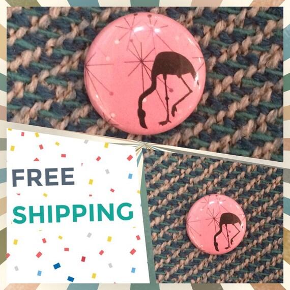 Atomic Era Pink Flamingo Button Pin FREE SHIPPING