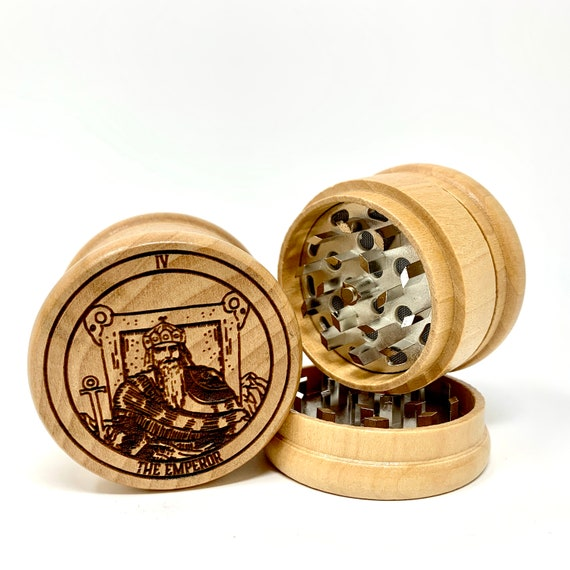 04 Tarot Deck Card - The Emperor - Herb Grinder Weed Grinders Tobacco Spices 3 piece all wood set sharp blades w/ sieve FREE SHIPPING