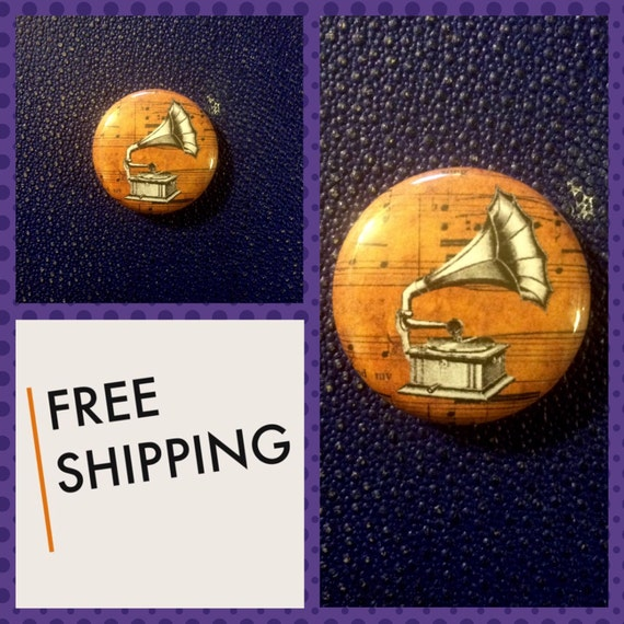 Old Phonograph Button Pin, FREE SHIPPING
