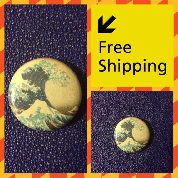 The Great Wave off Kanagawa, Japanese Print Button Pin FREE SHIPPING