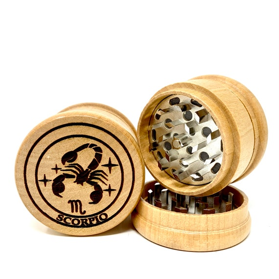 Scorpio The Scorpion Star Sign Astrology - Herb Grinder Weed Grinders Tobacco Spices 3 piece all wood set sharp blades catcher FREE SHIPPING