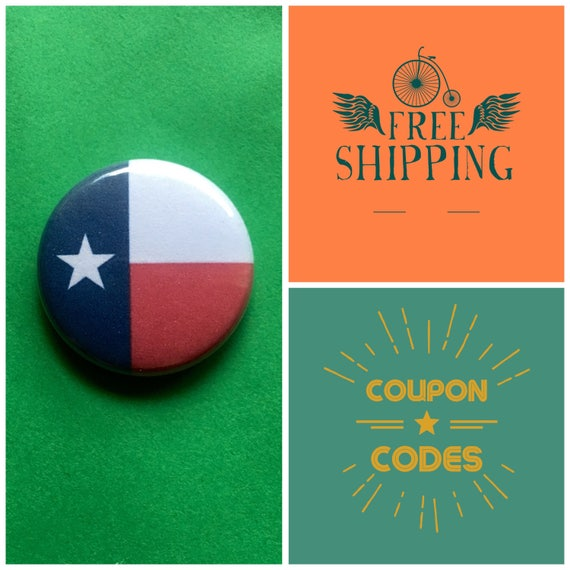 Texas State Flag Button Pin or Magnet, FREE SHIPPING