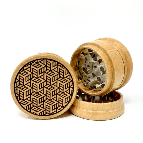 Box Tessellation Art Design - Herb Grinder Weed Grinders Tobacco Spices 3 piece all wood set with sharp blades and sieve FREE SHIPPING
