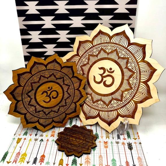Om Lotus Flower Mandala Decor Piece: Crystal Grid, Wall Hanging Art, Trivet Center Piece  FREE SHIPPING