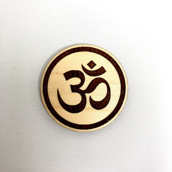Wood Magnet - Om Meditation Symbol, Auhm Design, FREE SHIPPING