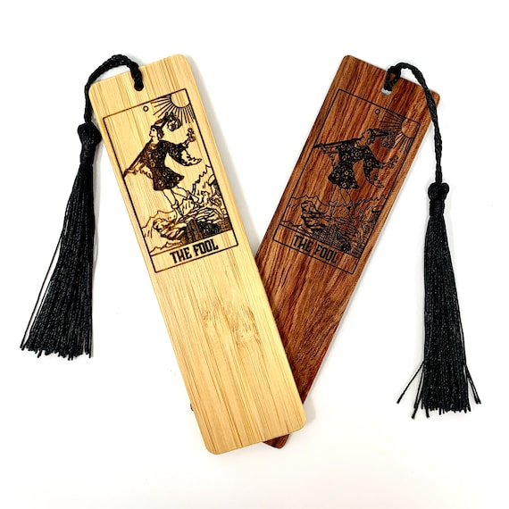 Tarot 00 - The Fool - Wood Bookmark Bamboo or Rosewood, FREE SHIPPING