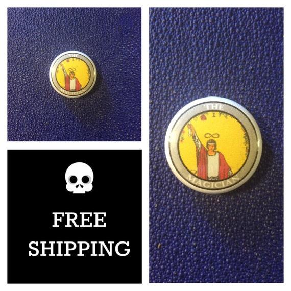Tarot Card - The Magician Button Pin, FREE SHIPPING