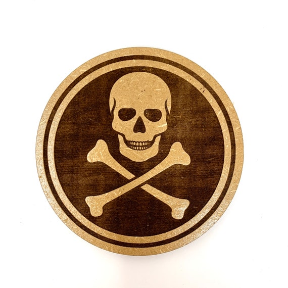 Drink Coasters - Skull and Crossbones Pirate  Wood Drink Coaster Set Home Decor Unique Gifts Housewarming Gift