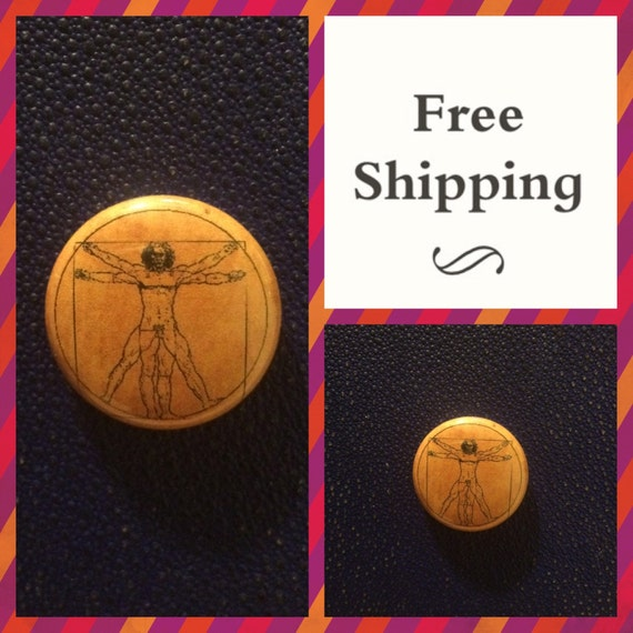 DaVinci Vitruvian Man Diagram Schematic Button Pin, FREE SHIPPING
