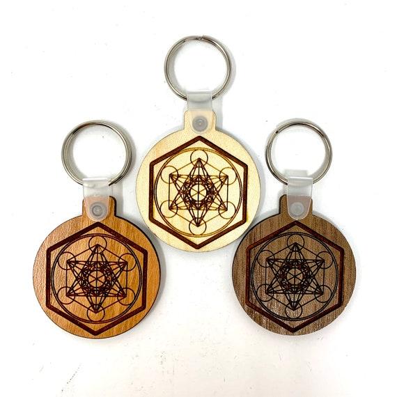 Sacred Geometry - Metatron's Cube Symbol Wood Key Chain w Key Ring, FREE SHIPPING