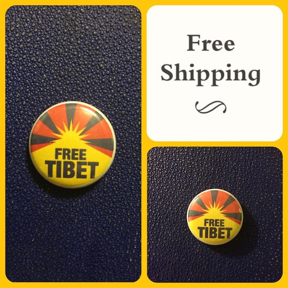 Free Tibet Protest Button Pin, FREE SHIPPING