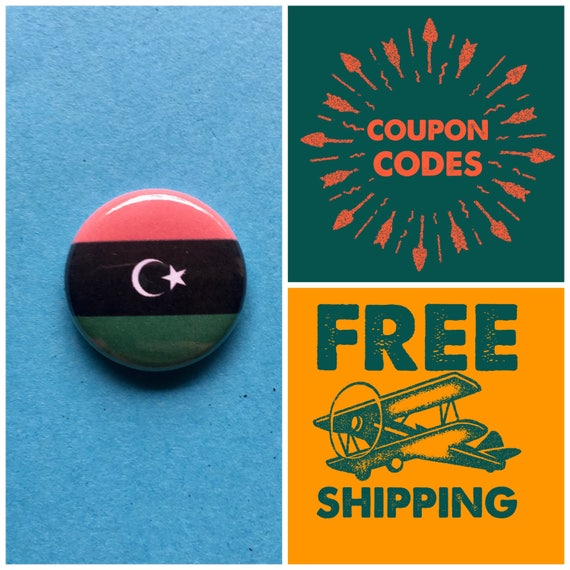 Libya Flag Button Pin or Magnet, FREE SHIPPING