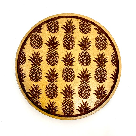 Pineapple Pattern Design Drink Coasters Set, FREE SHIPPING