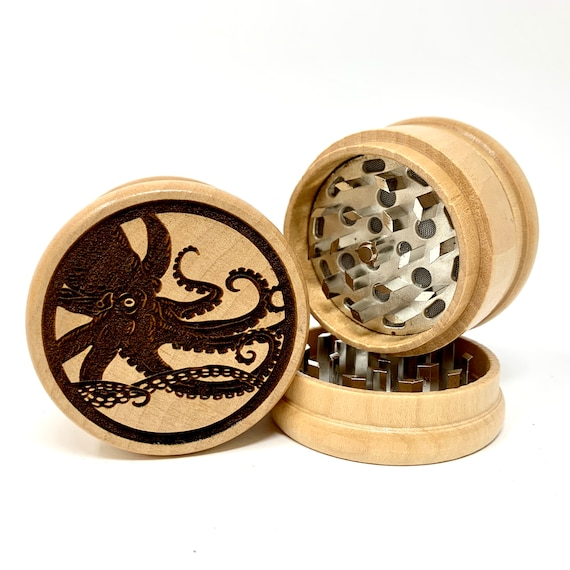 Kraken Giant Octopus - Herb Grinder Weed Grinders Tobacco Spices 3 piece all wood set with sharp blades and sieve FREE SHIPPING