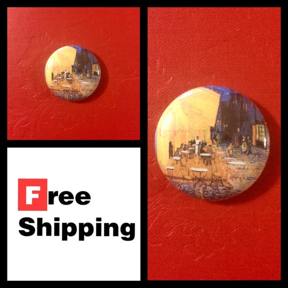 Cafe Terrace at Night, Van Gogh Painting Button Pin, FREE SHIPPING