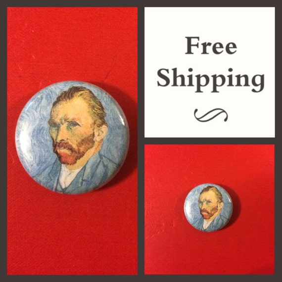 Van Gogh Self Portrait, Blue Button Pin, FREE SHIPPING