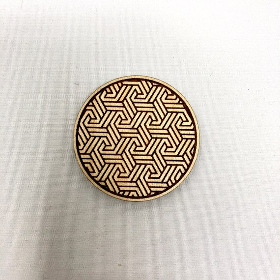 Wood Magnet - Tri Knot Tesselation Design, FREE SHIPPING