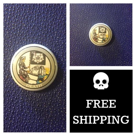 Tarot Card - Death Button Pin, FREE SHIPPING