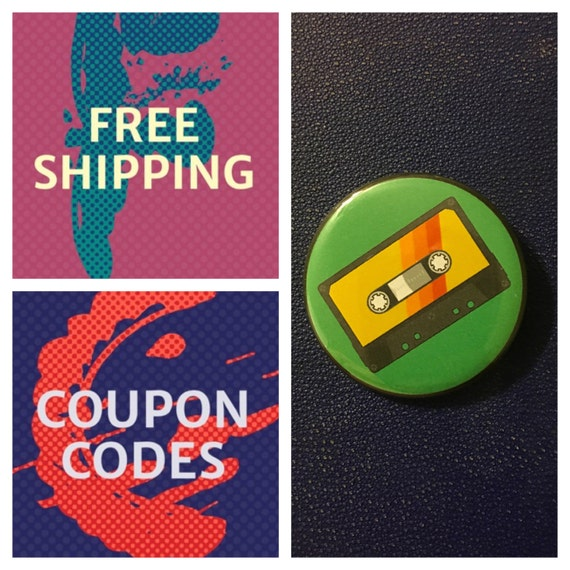 Cassette Tape Button Pin, FREE SHIPPING