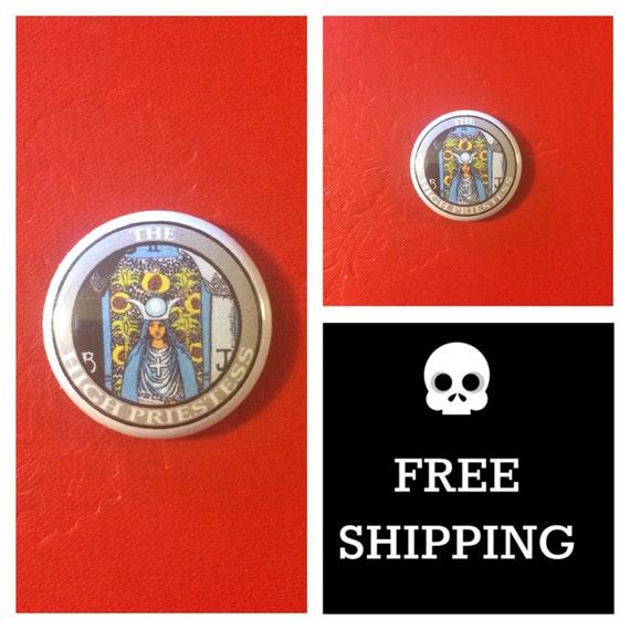 Tarot Card - High Priestess Button Pin, FREE SHIPPING