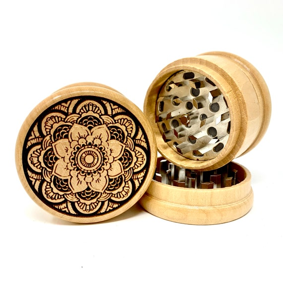 Flower Mandala Design - Herb Grinder Weed Grinders Tobacco Spices 3 piece all wood set with sharp blades and sieve FREE SHIPPING