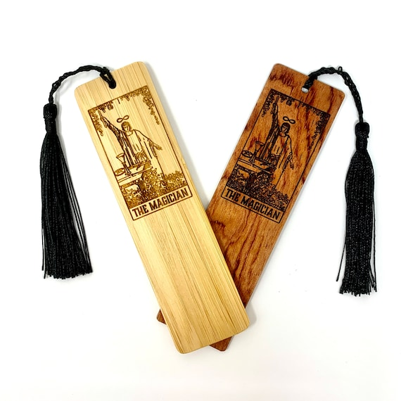 Tarot 01 - The Magician - Wood Bookmark Bamboo or Rosewood, FREE SHIPPING