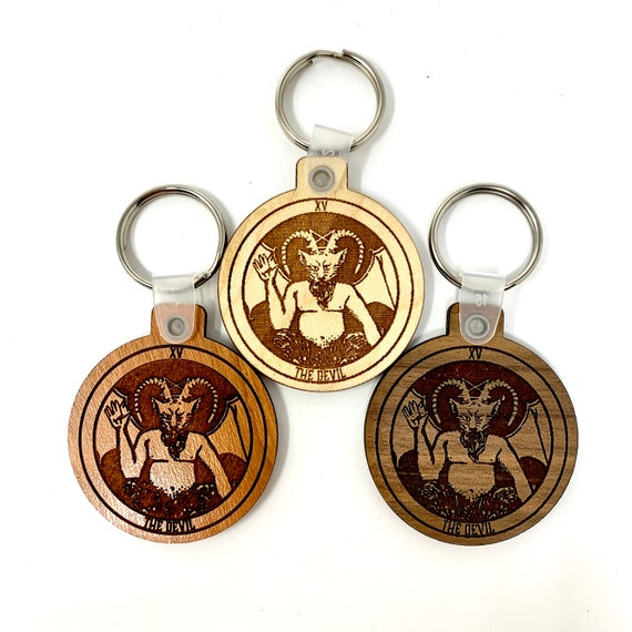 14 - The Devil - Tarot Deck Card Wood Key Chain w Key Ring, FREE SHIPPING