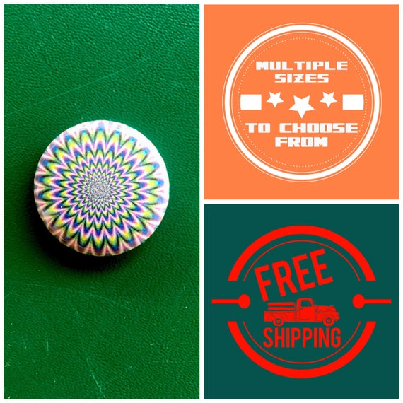 Magic Eye Psychedelic Button Pin or Magnet, FREE SHIPPING