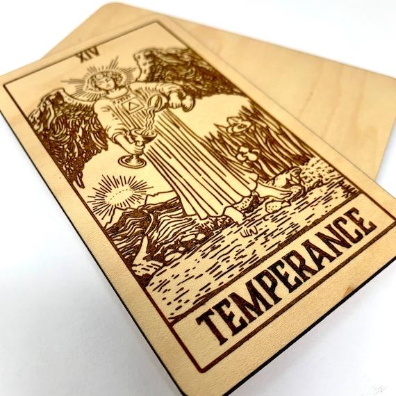 14 Temperance - Wood Tarot Card, Free Shipping