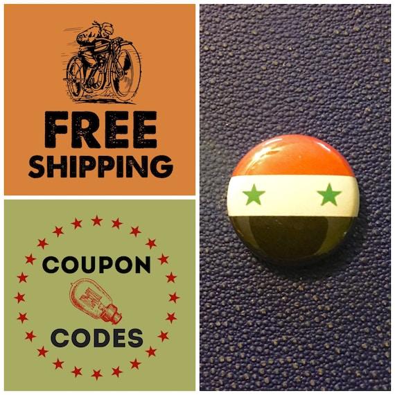 Syria Flag Button Pin, FREE SHIPPING
