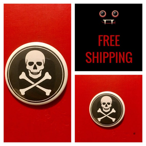 Skull & Crossbones Poison Button Pin, FREE SHIPPING - Coupon Codes Available
