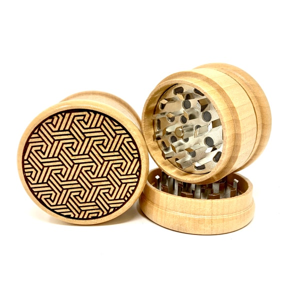 Triple Knot Tessellation Pattern - Herb Grinder Weed Grinders Tobacco Spices 3 piece all wood set with sharp blades and sieve FREE SHIPPING