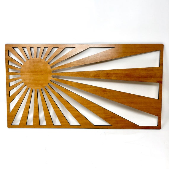 Rising Sun Japanese Inspired Laser Cut Wood Wall Art - FREE SHIPPING