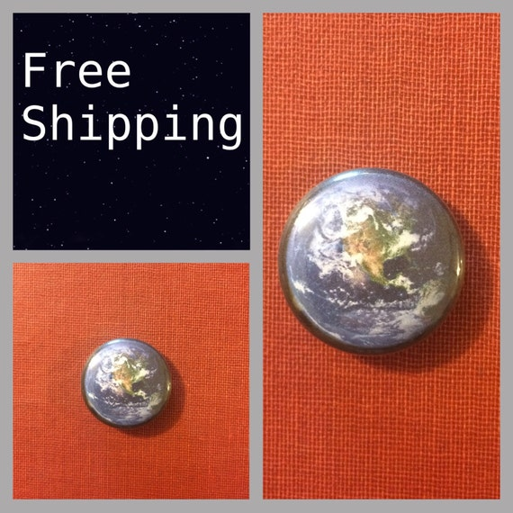 Planet Earth Button Pin, FREE SHIPPING