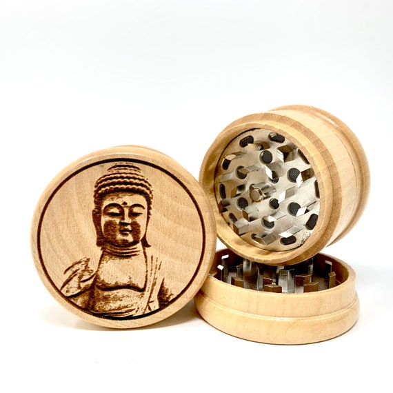 Buddha Statue Design - Herb Grinder Weed Grinders Tobacco Spices 3 piece all wood set with sharp blades and sieve FREE SHIPPING