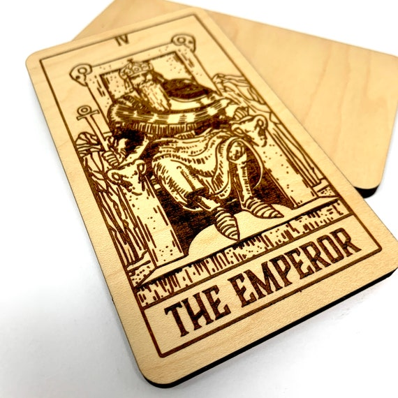 04 The Emperor - Wood Tarot Card, Free Shipping