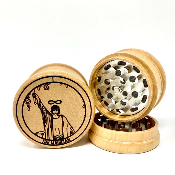 01 Tarot Deck Card - The Magician - Herb Grinder Weed Grinders Tobacco Spices 3 piece all wood set with sharp blades and sieve FREE SHIPPING