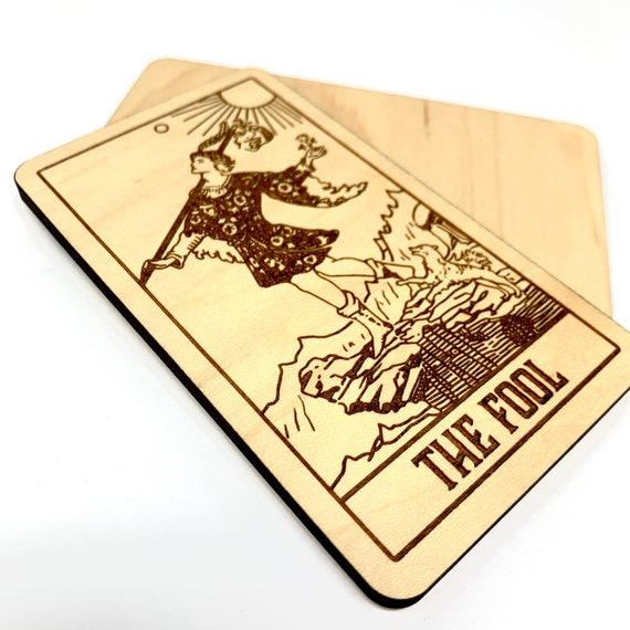 00 The Fool - Wood Tarot Card, Free Shipping