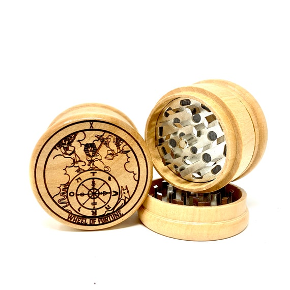 10 Tarot Deck Card - Wheel of Fortune - Herb Grinder Weed Grinders Tobacco Spices 3 piece all wood set sharp blades w/ sieve FREE SHIPPING