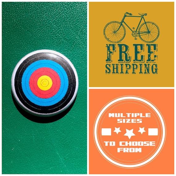 Archery Bullseye Button Pin or Magnet, FREE SHIPPING