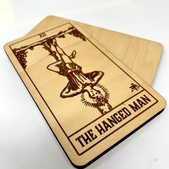 12 The Hanged Man - Wood Tarot Card, Free Shipping
