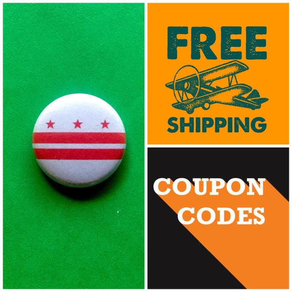 Washington DC, District of Columbia Flag Button Pin or Magnet, FREE SHIPPING
