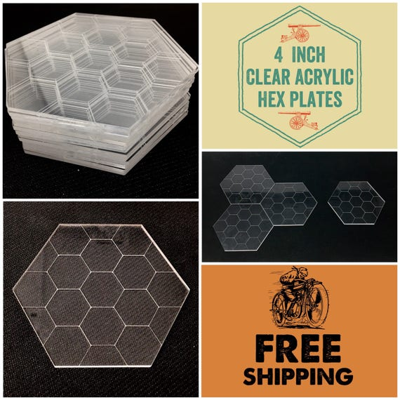 """Clear Acrylic 4"""" Hex Plates for Tabletop War Gaming and D&D, FREE SHIPPING and Bulk Discounts"""