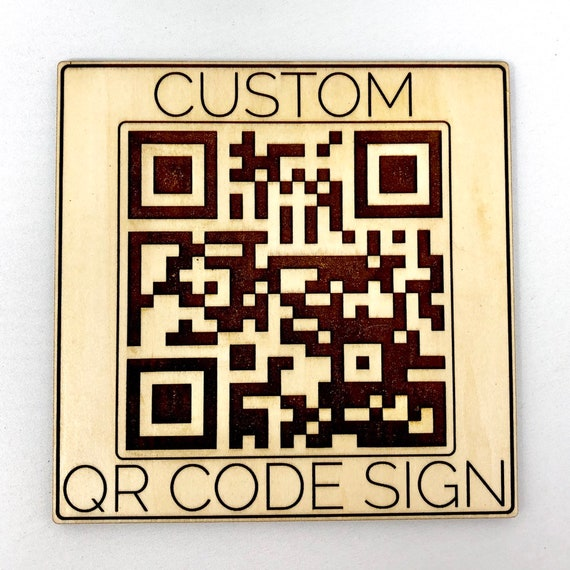 Custom Wood QR Scan Code Sign, laser engraved, FREE SHIPPING