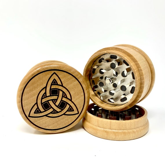 Celtic Knot Triquetra Design - Herb Grinder Weed Grinders Tobacco Spices 3 piece all wood set with sharp blades and sieve FREE SHIPPING