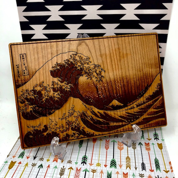 Great Wave off Kanagawa, Japanese Art Print Laser Engraved on Wood: FREE SHIPPING